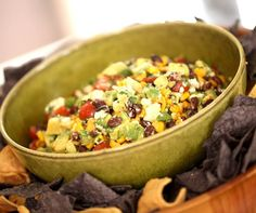 We love this veggie salad recipe with black beans, avocado, feta, and tomatoes…