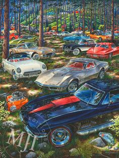 C1, SEE THEM ALL - from the 'Muscle Car Landscapes' Series. An original painting by Michael Irvine - Fine automotive art. www.michaelirvine.com $150