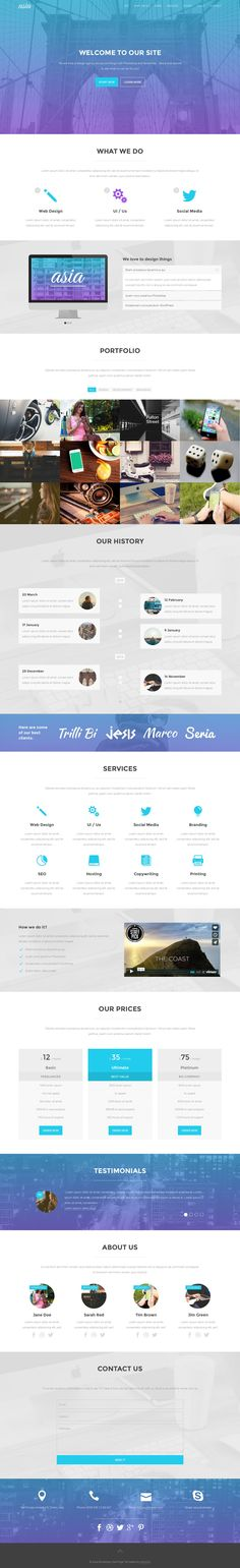 Asia is a responsive agency / portfolio / business #onepage theme made with #Bootstrap. It's perfect for presenting yourself, your company or your project, showcasing your work and getting new clients. #webdesign