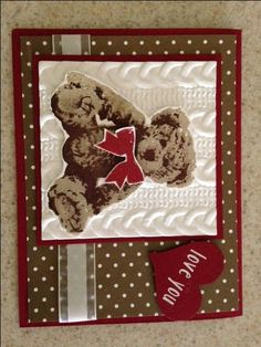Baby Bear stamp set by Stampin UP and Cable Knit embossing folder.