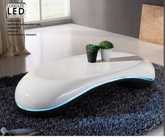 Milania Curved Gloss Coffee Table In White And Black With Led