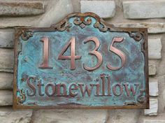 Two tone Address Plaque Coated in Copper and Iron Trim with Verde ...
