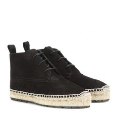 Balenciaga Espadrille Ankle Boots (685 CAD) ❤ liked on Polyvore featuring shoes, boots, ankle booties, flats, black, black bootie, black suede bootie, black ankle booties, espadrille flats and black espadrilles
