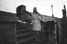 Klaudia model Jenny Jeshko. Silk blouse, cotton necklace and eco-leather perfored skirt. All by #jennyjeshko.  Photo by #ErikFotografKoritko.