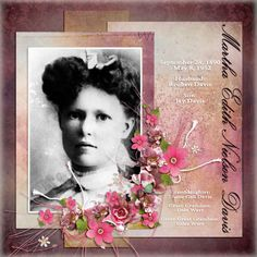 Martha Davis...a striking and feminine page with a muted but strong grayed violet background that perfectly compliments the soft photo mat and bright flower embellishments.
