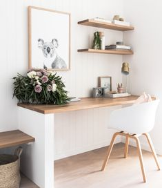 minimalist home office with modern desk and open shelves, vertical white shiplap. - minimalist home office with modern desk and open shelves, vertical white shiplap…- minimalist hom - Home Office Space, Home Office Design, Home Office Decor, Home Decor, Office Ideas, Desk Office, Home Office Shelves, Office Nook, Small Office Spaces