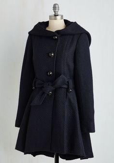 Like a storybook romance, the elegant details of this Steve Madden coat join together to create a lovable style. From its cape-inspired neckline and shiny black buttons to its chic pleats and woven texture, this navy blue is a fairytale-come-true! Vintage Coat, Retro Vintage, Cute Goats, Black Button, Modcloth, Midnight Blue, Winter Coat, Steve Madden, Cute Outfits
