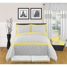 @Overstock - Great for teens and adults alike, this lively grey and white modern queen bedding set features a brilliant touch of sunny yellow contrast. This fantastic set includes a lightweight cotton comforter and a pair of pillow shams to match.http://www.overstock.com/Bedding-Bath/Sweet-JoJo-Designs-Grey-and-Yellow-Zig-Zag-3-piece-Full-Queen-Bedding-Set/6712863/product.html?CID=214117 $99.99