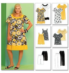 McCall's Sewing Pattern Women's Tops, Dresses, Shorts and Capri Pants Plus Size Sewing Patterns, Mccalls Sewing Patterns, Vogue Patterns, Clothing Patterns, Dress Patterns, Plus Size Tunic Dress, Plus Size Kleidung, Sewing Clothes, Dressmaking
