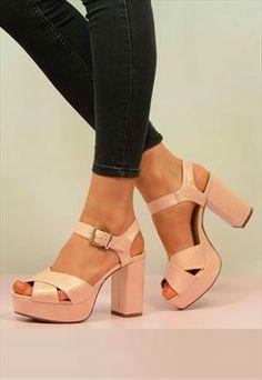 New womens block heel platform sandals ladies 70s high heels