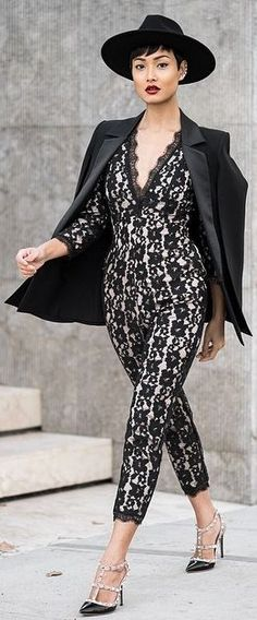 Black Lace Jumpsuit by Micah Gianneli