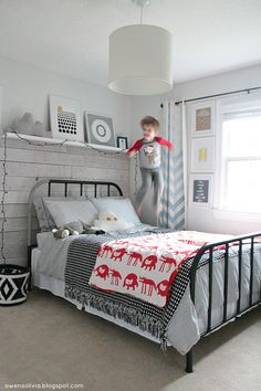 owen's olivia: A Schoolhouse Electric Inspired Bed. An adorable room for a little one or guest room. Love the metal bed!