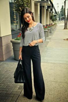 The HONEYBEE: Classic Stripes and High Waist trousers
