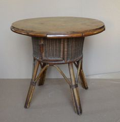 Wicker and wood coffe table 20th C.