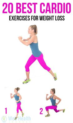 20 Best #Cardio Exercises For Weight Loss : Doing interval lunges. They are a great way to get that cardio workout you're body's craving.