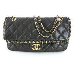 Chanel Black Quilted Lambskin Flap Bag w Chain Trim - available at http://www.pennypincherboutique.com/product/chanel-black-lambskin-flap-bag.html#.VFJTssnJpfw