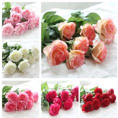 20pcs/set Rose flowers bouquet Royal Rose upscale artificial flowers silk rose flowers home wedding decoration * You can get more details by clicking on the image. #HomeDecor