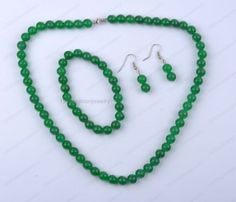 Natural green jade Dangle Earrings Bracelet Necklaces Set