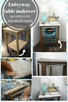 This is the cutest entryway in a coastal home! DIY table makeover with peel and stick paper is shared and the steps are so simple to recreate! Seriously, I have seen tables similar in stores asking a ton of money, this is such a cost effective way to have furniture in your home.