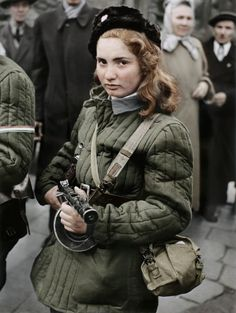 15 year old Hungarian freedom fighter, Budapest. (Colorized Photo) 1956.