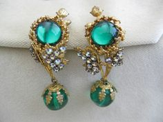 MIRIAM HASKELL Goldtone Green Glass Iridescent Rhinestone Drop Clip Earring  #MiriamHaskell #DropDangle