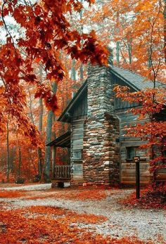cozy cabin in the fall woods