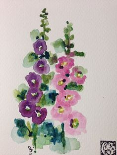 Hollyhocks Watercolor Card por gardenblooms en Etsy