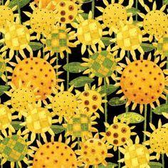 Clothworks Fresh Eggs by Dan DiPaolo Y1253 3 Black Sunflowers $9.50/yd
