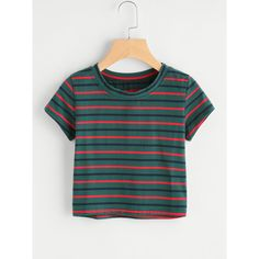 Contrast Striped Tee (55465 PYG) ❤ liked on Polyvore featuring tops, t-shirts, green t shirt, green tee and green top