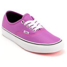 91b4c9bb8ac59 Add some eye poppin  color to your footwear collection with the Vans  Authent Neon Purple shoes for girls. These shoes have a timeless low top  silhouette in ...