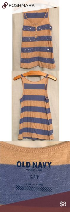 Striped Sequin Tank This tank has transparent sequined on the front. Casual with a bit of flair. Fabric has stretch and could fit a medium as well. Bundle and save. Offers welcome! Old Navy Tops Tank Tops
