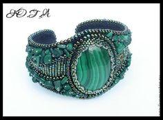 Купить Браслеты с малахитом - украшение, малахит, браслет, авторские украшения, украшение на руку, зеленый, малахит