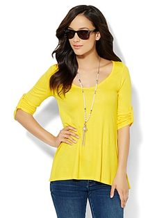 Shop Flared Hi-Lo V-Neck Top . Find your perfect size online at the best price at New York & Company.
