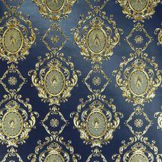 Gold Embossed Blue Damask wallpaper 10m Roll Damask Wallpaper, Worlds Largest, Bohemian Rug, Home And Garden, Gold, Blue, Ebay, Decor, Decoration