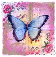 CA-1101-02 Vintage-Butterfly Mixed Media Art