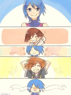 Aqua meeting Sora as a child and again when he saves her from the Realm of Darkness, after seeing him grown and strong and of melting over a cuteness overload.
