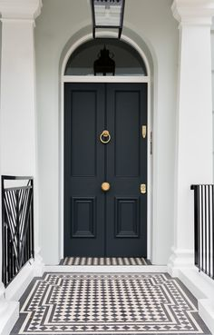 We will be looking into exterior door design ideas, after all, they're the welcoming point to your home. Get going and check the exterior door design that. Home Interior Design, Exterior Design, Interior And Exterior, Black Exterior Doors, Victorian Front Doors, Victorian Homes, Victorian Front Garden, Victorian Terrace, House Front Door