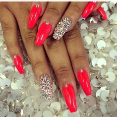 Nail art with rhinestone