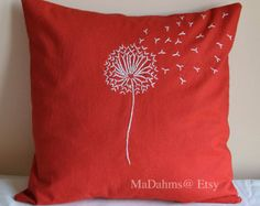 The Pillow Cover is made off white 100% linen, which is soft to the touch. The Dandelion is hand embroidered in green. This pillow is bright and cheerful. Will very from photo since each pillow is hand made.    The pillow has an envelope opening on the back. The back of the pillow is the same fine cotton linen fabric as the front. Only the Dandelion pillow is for sale, the other pillow is sold separately.    Pillow Cover Size – 16x16 inches.    Pillow covers are sold without the pillow…