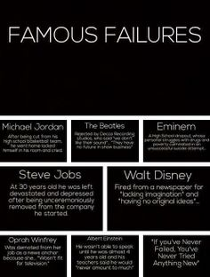 """""""If you have never failed, you have never tried anything new!"""""""