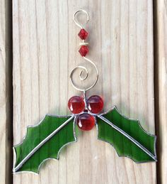 Stained Glass Holly ornament - suncatcher