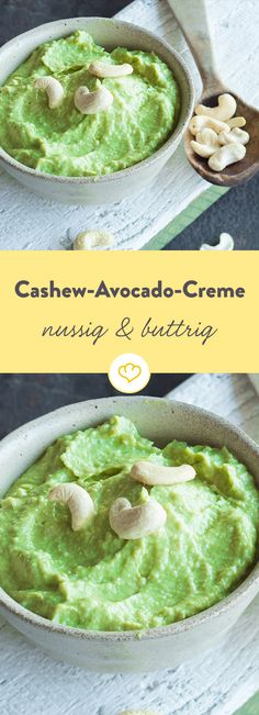 Nussig trifft buttrig: Kernige Cashews vereinen sich mit aromatischen Avocados z… Nutty meets buttery: Hearty cashews combine with aromatic avocados Avocado Dessert, Pesto, A Food, Food And Drink, Avocado Toast, Avocado Dip, Guacamole Dip, Feta Dip, Avocado Smoothie
