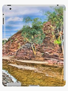Rocks at Brachina Gorge, Flinders Ranges, Sth Australia iPad Cases & Skins by TC-TWS.  A painting of a section of Brachina Gorge, South Australia, rock formations from the Cambrian era. The landscape is approximately 540 million years old.  Approx 480km (298 miles) north of Adelaide, SA. • Also buy this artwork on phone cases, apparel, home decor, and more.