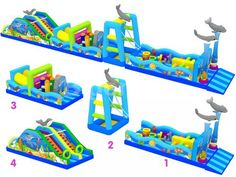 Sea World Obstacle Bigenjoy Inflatable Product Co. Big Water Slides, Inflatable Obstacle Course, Survivor Party, Inflatable Bounce House, Tiny Food, Pool Toys, Floating In Water, Sea World, Pool Ideas