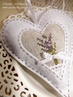 French Country Home Embroidery Hearts, Christmas Embroidery, Cross Stitch Embroidery, Cross Stitch Patterns, Lavender Crafts, Lavender Bags, Lavender Sachets, Small Sewing Projects, Sewing Crafts
