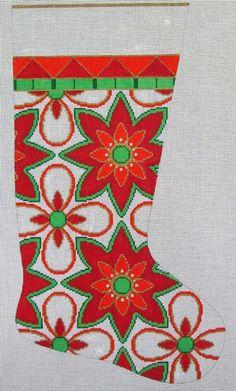 Needlepoint Christmas Stocking - Modern Floral