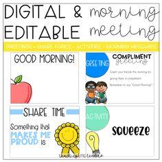 Digital and Editable Morning Meeting Slides