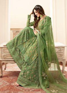 Anarkali Lehenga, Lehenga Suit, Sharara Suit, Salwar Kameez, Stylish Dresses For Girls, Girls Dresses, Desi Clothes, Green Fabric, Embroidered Silk