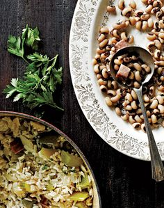 A southern tradition said to bring good luck...collards and black-eyed peas are served on New Year's Day.