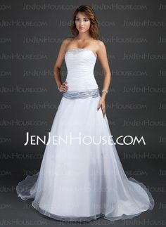 Wedding Dresses - $166.99 - A-Line/Princess Strapless Court Train Organza Satin Wedding Dress With Ruffle Sashes Beadwork (002015380) http://jenjenhouse.com/A-Line-Princess-Strapless-Court-Train-Organza-Satin-Wedding-Dress-With-Ruffle-Sashes-Beadwork-002015380-g15380